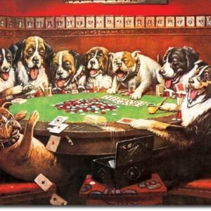 8 Drunken Dogs Playing Poker Tin Sign